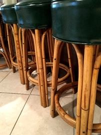 Bamboo and Leather Bar Stools!...
