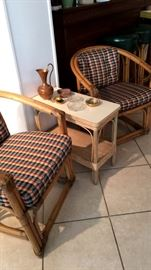 Upholstered Bamboo Arm Chairs and Side Table...