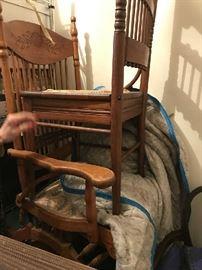 Antique platform rocker and side chair