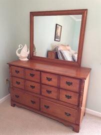 #8Maple Dresser  with Mirror 52x17.5x32.5  Mirr 39x33 $200.00