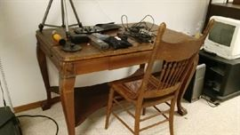Antique table, tripod, electronics