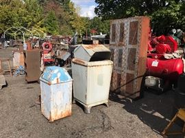 Vintage shop lockers and trash cans