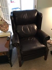 Nice leather wing chair