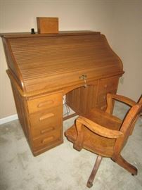 Nice roll-top desk and oak office chair