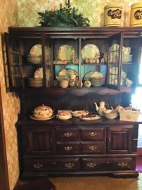 Antique Pine hutch with Desert Rose china