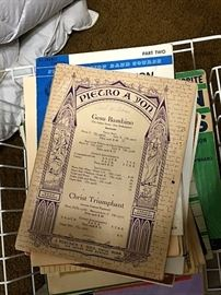 boxes of vintage sheet music