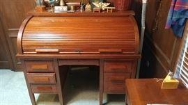 Antique oak roll top desk, circa 1920