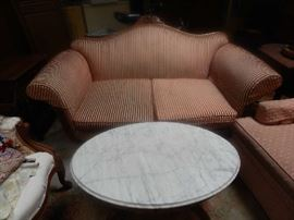 FABULOUS PARLOR LOVE SEAT AND MARBLE TOP COFFEE TABLE