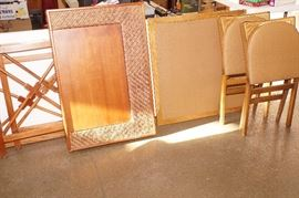 card table with 4 chairs and rattan writing desk