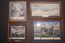 signed and numbered WWII aviation art prints including two by Pappy Bowington