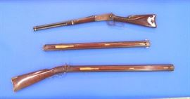 Top: Winchester Model 1894, side ring carbine, #235726. Bottom: Leonard Day & Sons long rifle #305 and extra 54 caliber barrel # 305