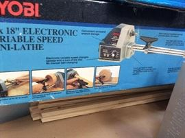 "Ryobi 6x18"" Electronic Variable Speed Mini Lathe"