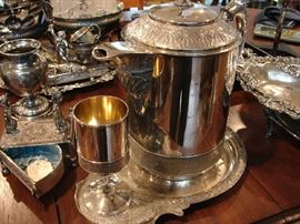 Complete hot water kettle, stand and goblet. Gorgeous!