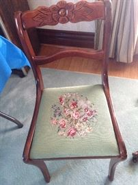 Very fine needlepoint upholstered chair center pattern has separate grid-point construction