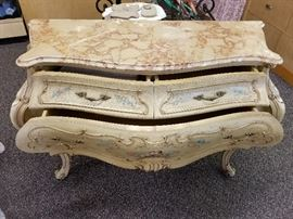 Beautiful antique, early 1900's commode. Marble top, three drawers. Handmade and hand painted.