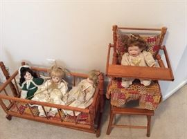 Dolls and assorted furniture