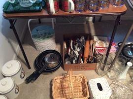 Kitchen utensils and baskets