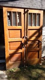 pail of solid oak doors out on an old school