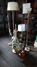 Assortment of lamps, several midcentury, Plasto