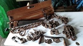 Unique wood tool caddy, vintage industrial hook and chains - various sizes, swivel casters, door rollers, misc, casters...