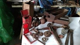 Vintage flare reflector set in original metal box ,  Durbin Durco chain tool, Durbin Durco ratchet turnbuckle, pair of vintage industrial metal boxes with two compartments, old set of three lanterns with metal box