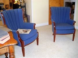 BLUE BARREL BACK CHAIRS