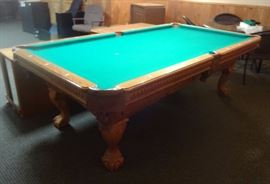 "8' billiard table Fischer made by CL Bailey, Dutchess design, leather pockets, 3 piece 1""slate, ball and claw foot leg style. includes pool cues"