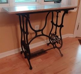 marble top iron base sewing table