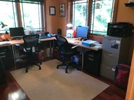 Office Desks with Adjustable Legs (2), Two-drawer Desk file cabinets on casters (2) .  Adjustable Executive Desk Chairs (2), Lamps, NOT SHOWN:  (2) 3 Shelf Bookcases, 3'x4' Magnetic White Board