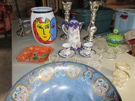 HERE IS A SAMPLING OF WHAT WAS IN ONE OF THE MANY BOXES WE UNPACKED. KOSTA BODA, WATERFORD, ANTIQUE CHOCOLATE SET, ETC