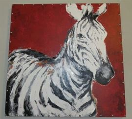 Modern Hand-Painted Zebra Studded Canvas Wall Art Red Background