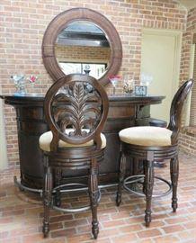 Wood Rattan Bar & Swivel Stool Set w/Mirror by American Signature Furniture