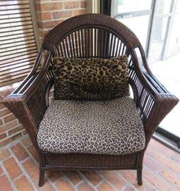 Dark Rattan Wicker Arm Chair
