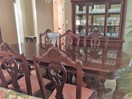 Mahogany Dining Room Table with 8 Chippendale Style Chairs