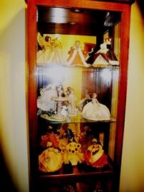 Lovely curio with beautiful Lladros and Nan's corn husk dolls!