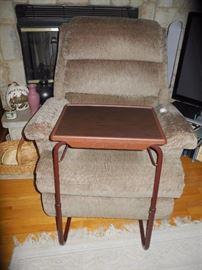 Fabric recliner; tuck under tray