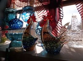 art glass roosters