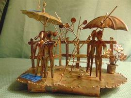 Metal Sculpture/Music Box - Raindrops Keep Falling on My Head
