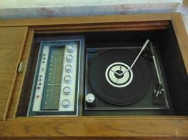Record player and radio in stereo console