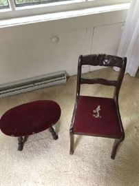 Antique Needle Point kids Chair and Ottoman