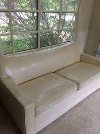 Mid Century modern white vinyl  hide -a - bed