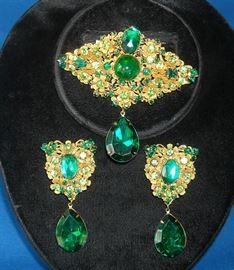 Beautiful signed Miriam Haskell brooch and earrings.