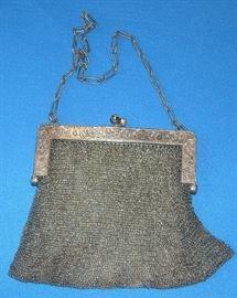 Vintage, sterling silver mesh handbag.