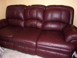 Faux leather sofa/couch and 2 reclining chairs one power