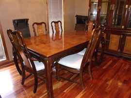 Burl wood top stunning Dining room table and 6 chairs with dining room china cabinet with Asian accents