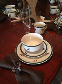 Dishes great for a hunting cabin, farm, or ranch; deer head style napkin rings and glasses