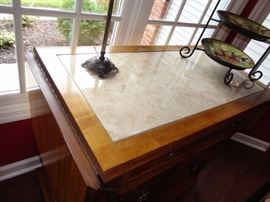 Stanley drop leaf sides Marble  table top