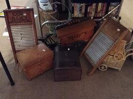 Antique washboards, baskets