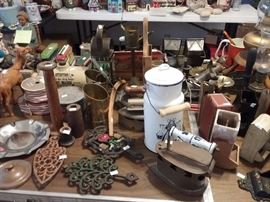 Antique Irons, Matchboxes, Hurricane Lamps
