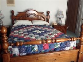 This beautiful Americana style bedroom set is in very good condition.  It includes a queen size bed, dresser with mirror, an armoire and 2 night stands. Some drawers were not even used.  Comforter is sold separately.  Mattress is not included.